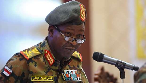 Spokesman of the Sudan's Transitional Military Council Lieutenant General Shamseddine Kabbashi speak