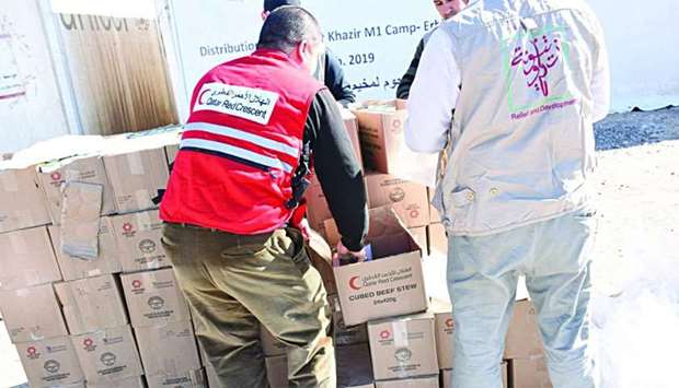 Qatar Red Crescent Society (QRCS) personnel delivered food aid for internally displaced persons in t