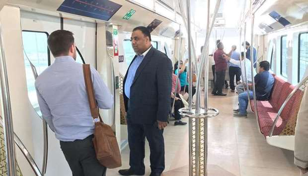 British embassy staff members ride Doha Metro