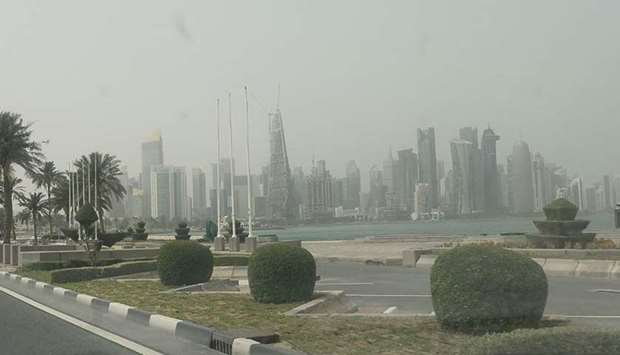 Doha behind a thin curtain of dust