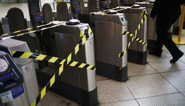 Taped ticket barriers at Westminster underground station, following the outbreak of the coronavirus