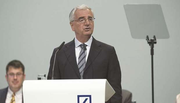 Paul Achleitner, chairman of Deutsche Bank, addresses the bank's annual general meeting in Frankfurt