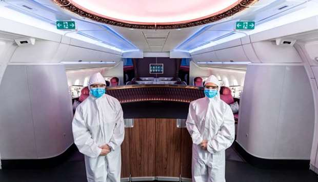 Qatar Airways cabin crew have already been wearing PPE during flights for a number of weeks, includi