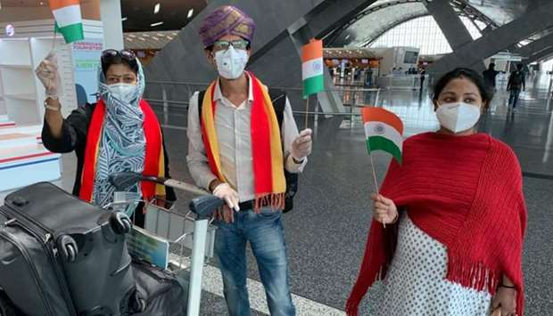 Bengaluru-bound passengers at Hamad International Airport Friday as part of the Indian repatriation