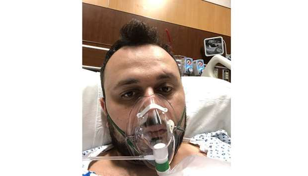 VOLUNTEER: Dr Anar Yukhayev, pictured on March 24, was hospitalised at Long Island Jewish Medical Ce