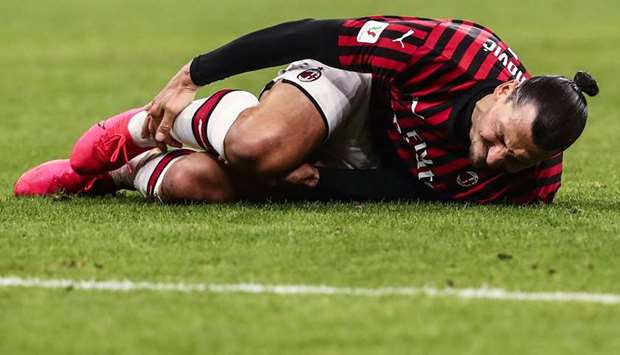 Zlatan Ibrahimovic after being tackled during the Coppa Italia semi-final against Juventus in Februa