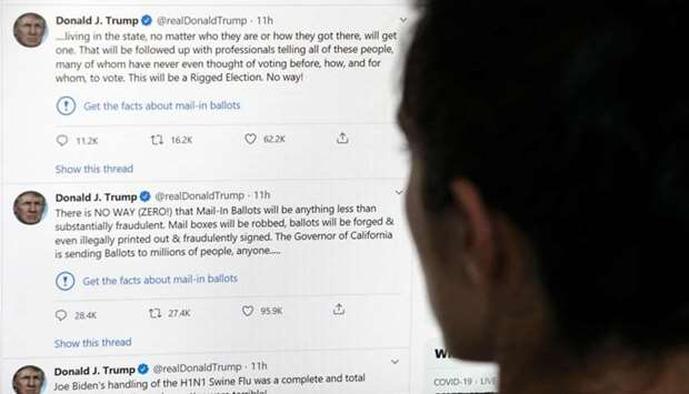 The official Twitter account of US President Donald Trump on May 26, 2020, with two tweets by the pr