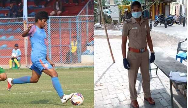 India's midfielder Indumathi dons different uniform in fight against Covid-19