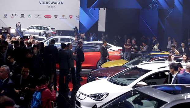 New cars are displayed at a Volkswagen media event ahead of the Beijing Auto Show in Beijing (file).