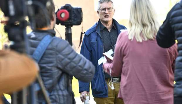 State epidemiologist Anders Tegnell of the Public Health Agency of Sweden talks to reporters after a
