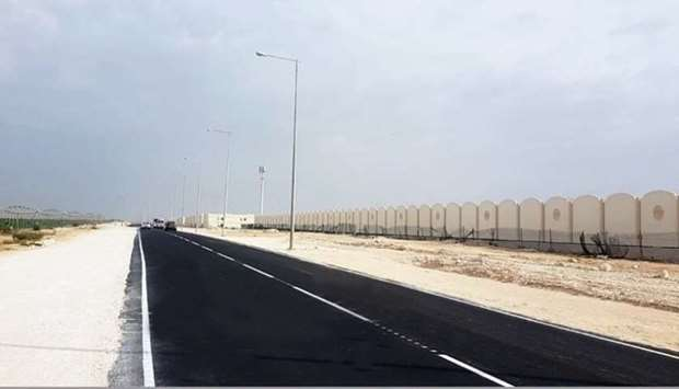 A view of a section of the road completed by Ashghal.