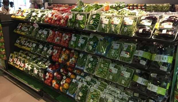 Local vegetables at a retail outlet in Doha.