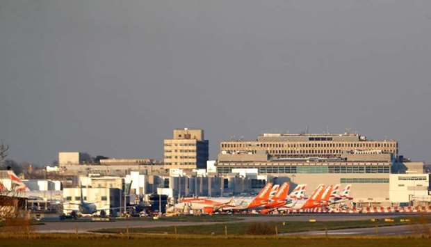 Easyjet and British Airways planes are pictured at Gatwick airport as the spread of the coronavirus