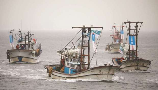 South Korean fishing boats take part in a marine protest, part of nationwide protests to demand Japa