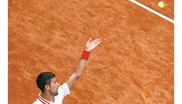 Serbia's Novak Djokovic in action during his second round match against Taylor Fritz of the US in Ro
