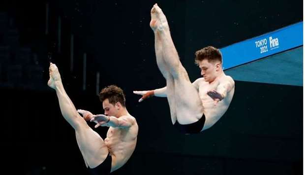 Britain's Tom Daley and Matthew Lee in action during the men's synchronised 10m platform final durin