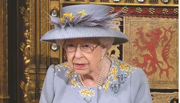 Queen Elizabeth delivers her speech during the State Opening of Parliament in London yesterday. (Reu