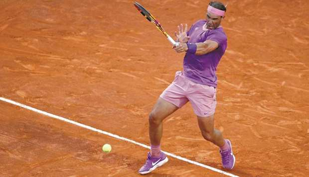 Spain's Rafael Nadal  in action during his Italian Open match against Italy's Jannik Sinner (not pic