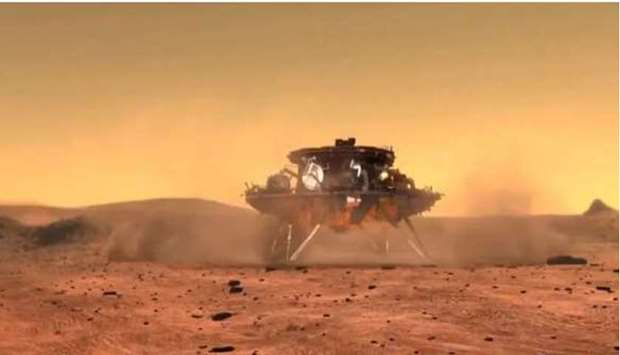 An artist's concept of China's first Mars rover mission, Tianwen-1, at the Red Planet. (Image credit