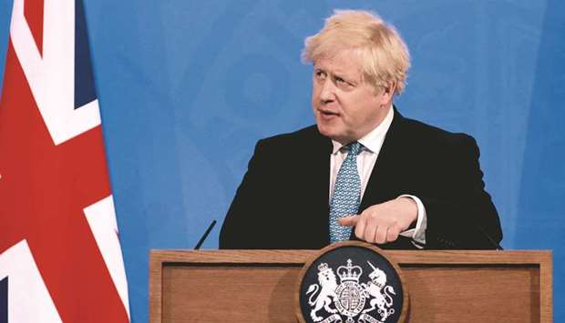 Britain's Prime Minister Boris Johnson gives an update on the coronavirus Covid-19 pandemic during a