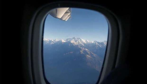(File photo) Mount Everest, the world highest peak, and other peaks of the Himalayan range are seen