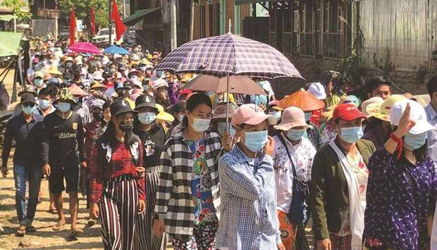 Protesters taking part in a demonstration in Hpakant in support of Mindat, a town in Chin state wher