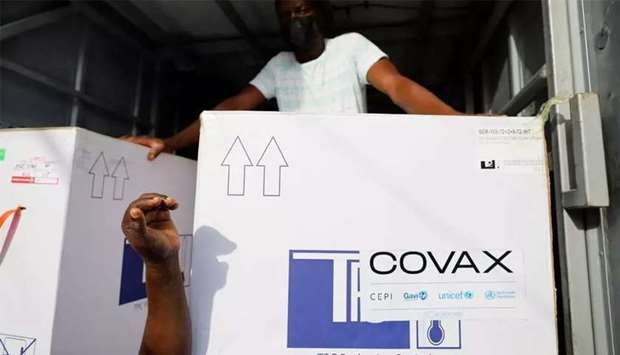 Boxes of Oxford/AstraZeneca Covid-19 vaccines, redeployed from the Democratic Republic of Congo, arr