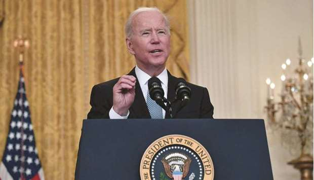 US President Joe Biden delivers remarks on the Covid-19 response and the vaccination programme in th