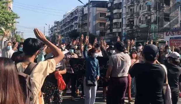 :People protest in Hlaing Township, Yangon, Myanmar May 2, 2021, in this still image from a video ob