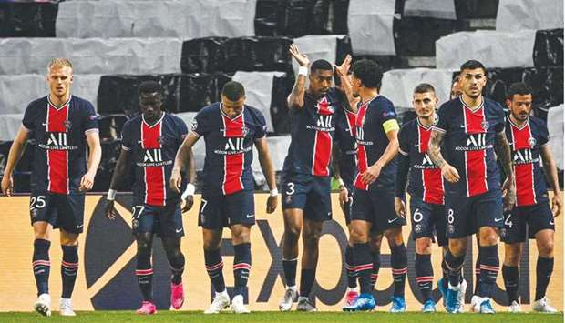 File photo of PSG players celebrating after scoring a goal during the UEFA Champions League first le