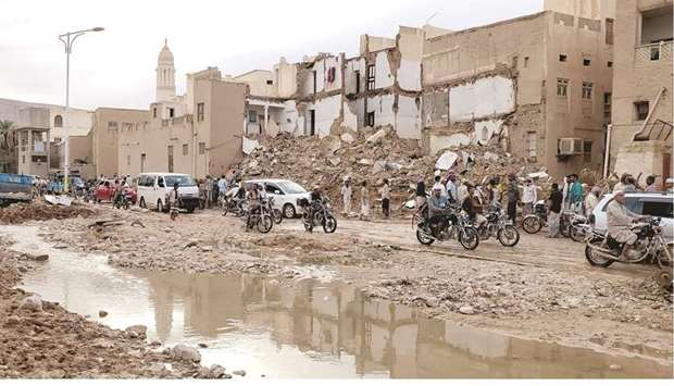 A picture taken yesterday, shows the aftermath of flash floods in the city of Tarim in Yemen's centr