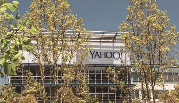 Signage on a building at the Oath Yahoo! headquarters in Sunnyvale, California. Apollo Global Manage