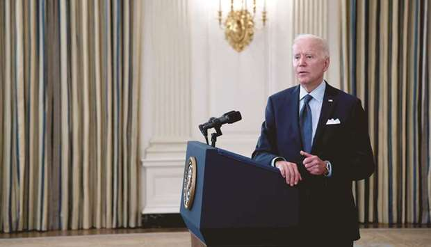 US President Joe Biden delivers remarks on the state of the coronavirus disease vaccinations at the