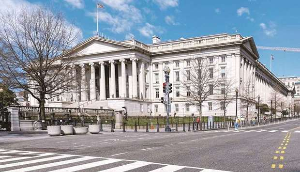 The US Treasury Department building in Washington. The US Treasury kept its quarterly auction of lon