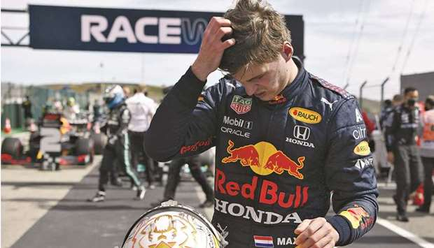 Red Bull's Max Verstappen reacts after finishing second in the Portuguese Grand Prix at Algarve Inte