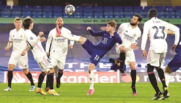 Chelsea's Timo Werner (centre) in action during the UEFA Champions League semi-final second leg matc