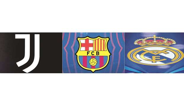 This combination of pictures shows the logos of Juventus, Barcelona and Real Madrid.
