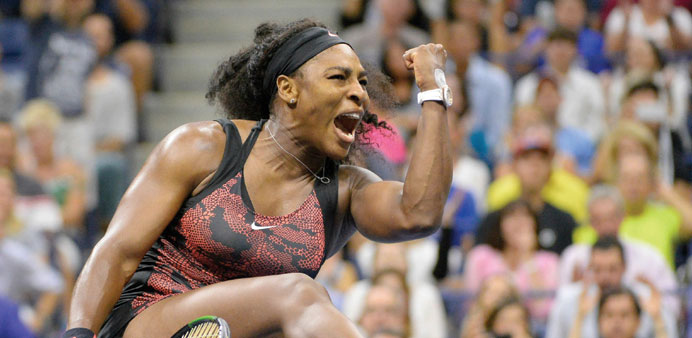 CHARGED UP: Serena Williams celebrates winning a point against Bethanie Mattek-Sands.