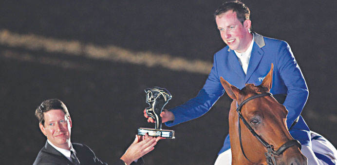Dutch rider Gerco Schroder aboard London after his win in the CHI Al Shaqab CSI 5* Grand Prix at the
