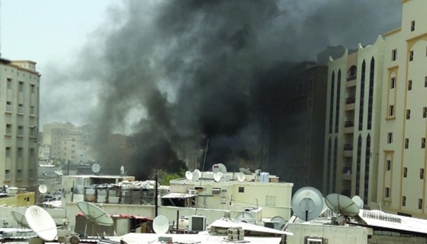 Smoke emanating from the compound in Najma where a fire broke out