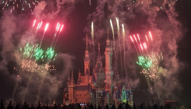 Fireworks being set off near the Enchanted Storybook Castle at the Shanghai Disney Resort in Shangha