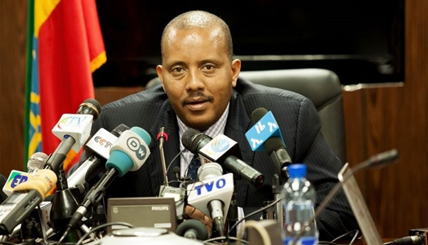 Ethiopian communication affairs minister, Getachew Reda speaks during a press conference in Addis Ab