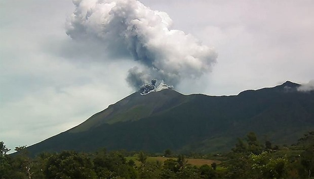 Kanlaon volcano as it spewed ash into the air