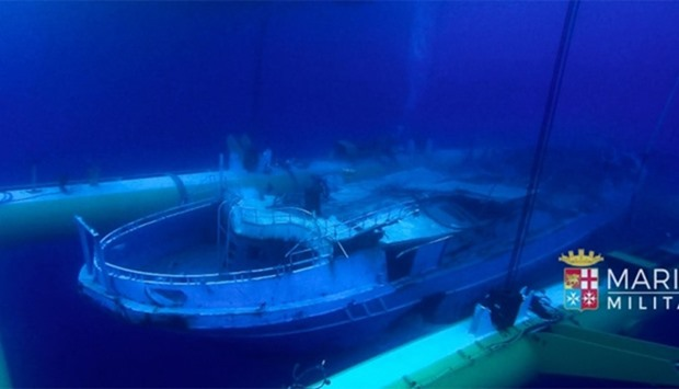 The wreck of a fishing boat which sank in the Mediterranean sea