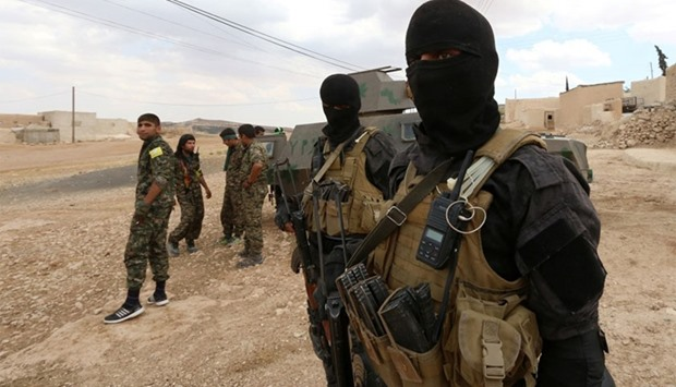 Special forces from the Syria Democratic Forces in the southern rural area of Manbij
