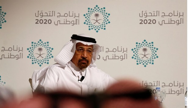 Saudi Energy Minister Khalid al-Falih attends a news conference announcing the kingdom's National Tr