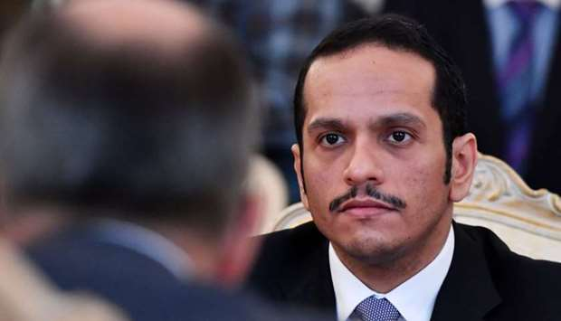 HE the Foreign Minister of Qatar Sheikh Mohamed bin Abdulrahman al-Thani with his Russian counterpar