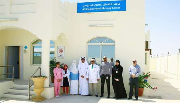 Officials at the launch of physiotherapy facility at Al Shamal Health Centre.