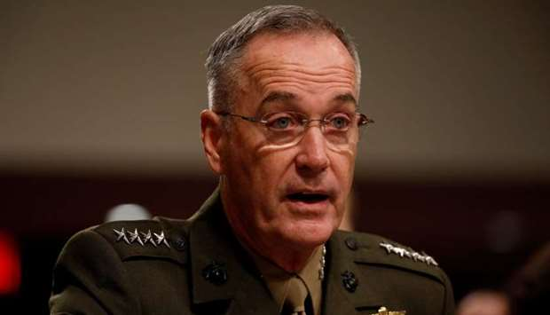 Chairman of the Joint Chiefs of Staff Gen. Joseph Dunford testifies before the Senate Armed Services