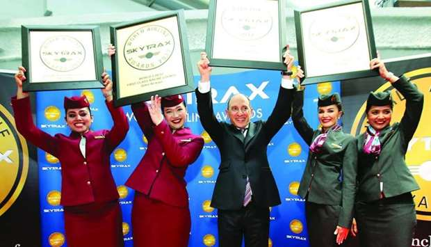 Al-Baker with the 'Airline of the Year' honour received by Qatar Airways at the prestigious 2017 Sky